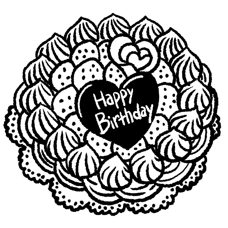 ケーキ バースディケーキ ハッピーバースディ お誕生日 イラスト