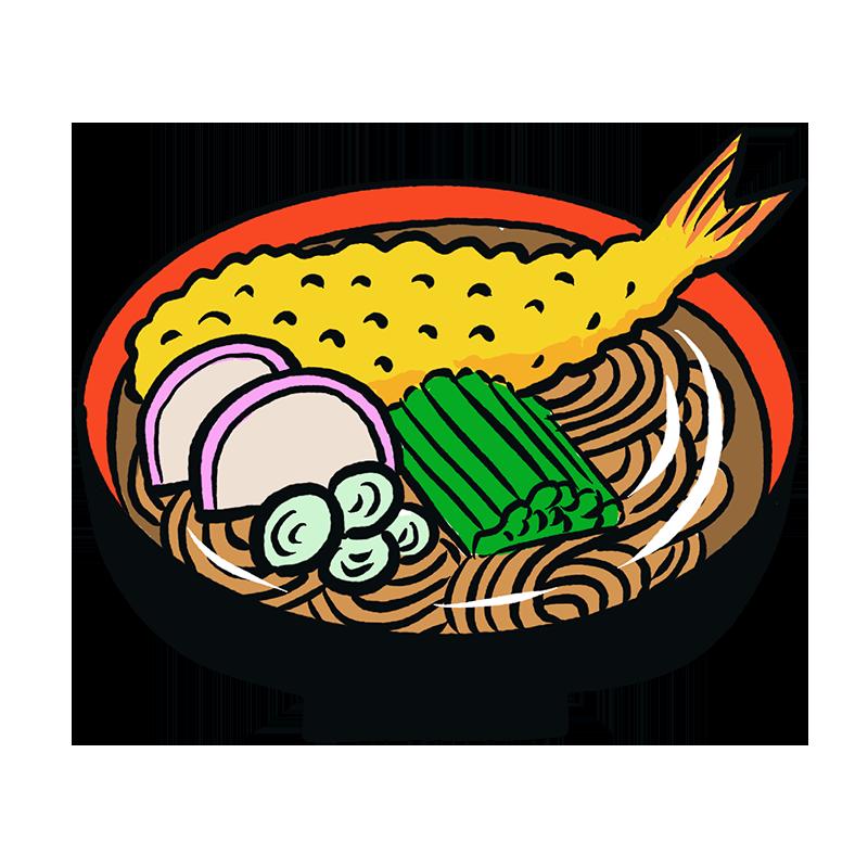年越しそば 天ぷら蕎麦 そば イラスト