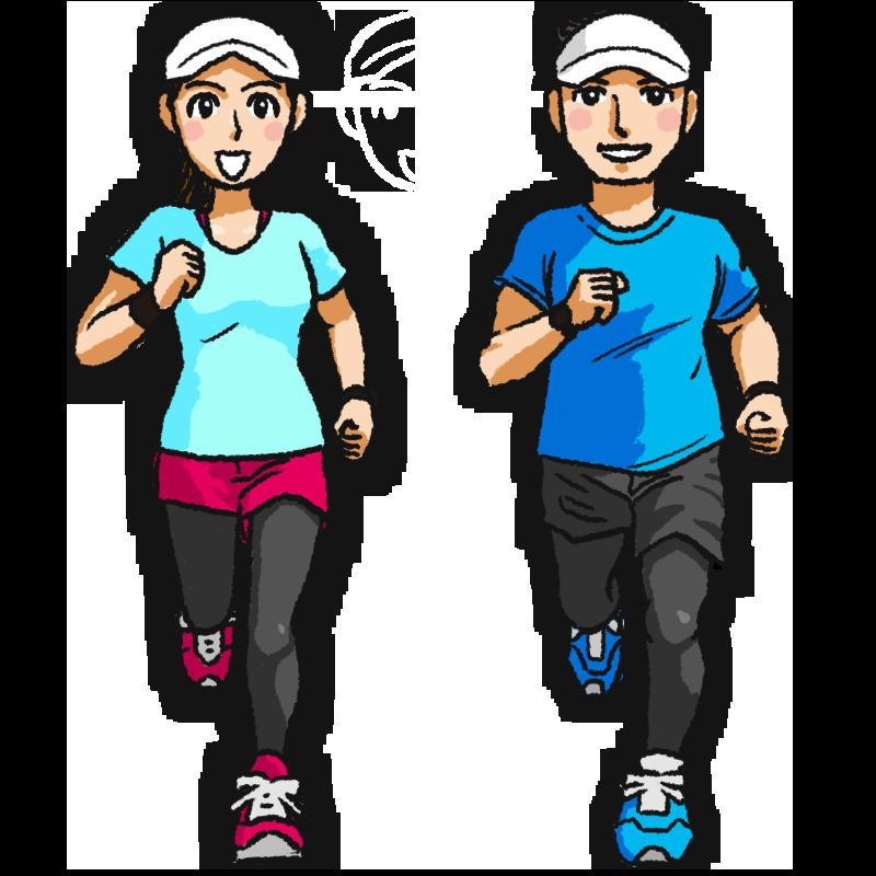 ジョギングする男女のイラスト イラスト