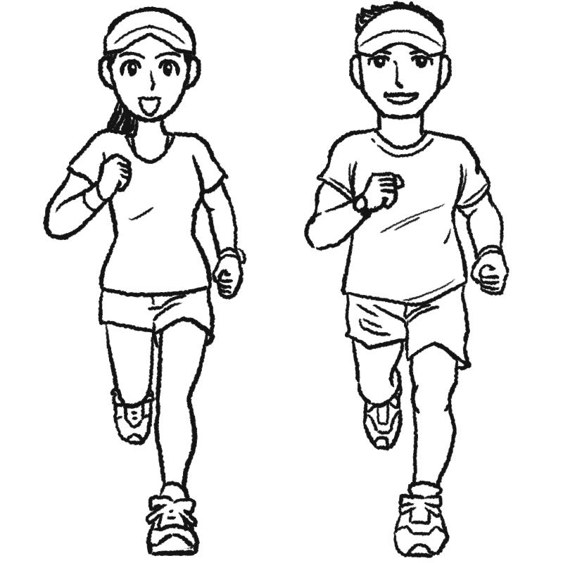 ジョギングする男女のイラストぬり絵 イラスト
