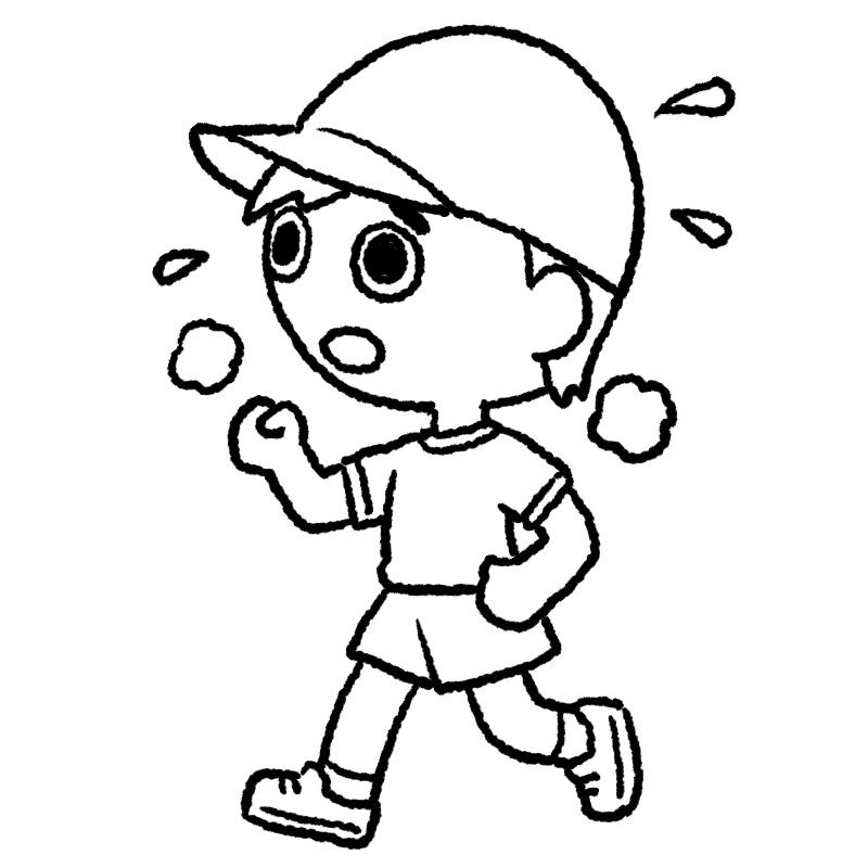 マラソン 女の子 体育 かけっこ マラソン大会 運動会 体育祭 イラスト ぬり絵