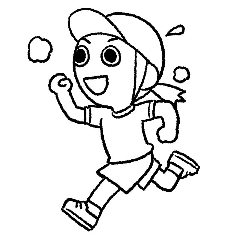 マラソン かけっこ 女の子 体育 かけっこ マラソン大会 運動会 体育祭 イラスト ぬり絵