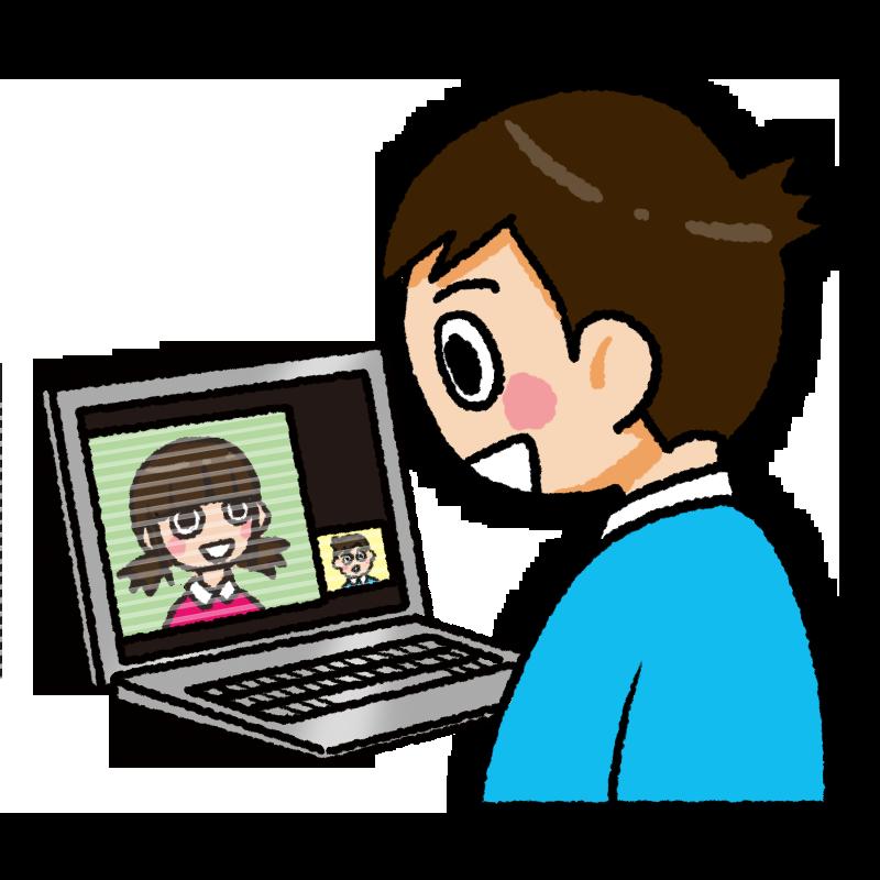 ズーム オンライン テレビ電話 ミーテイング 会議 パソコン タブレット イラスト 女の子 男の子