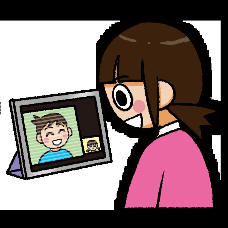 タブレットでオンラインミーティングをする女性のイラスト