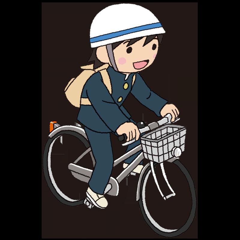 自転車を運転する男子中学生のイラスト