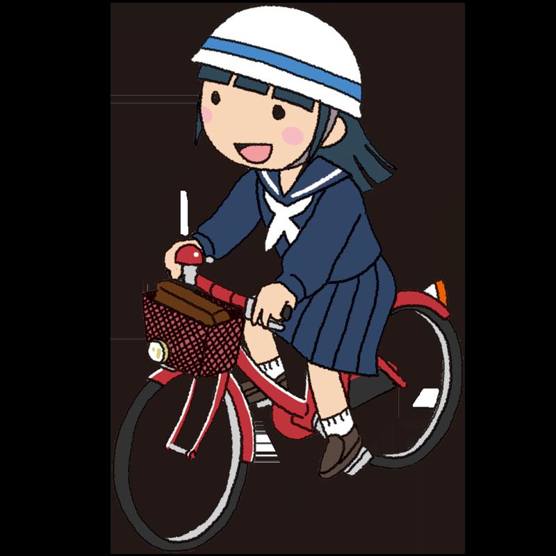自転車を運転する女子中学生のイラスト