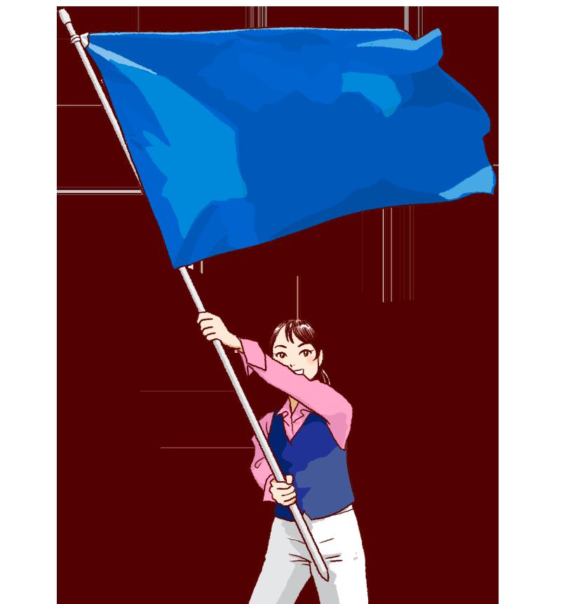 大きな青い旗を振る女性のイラスト