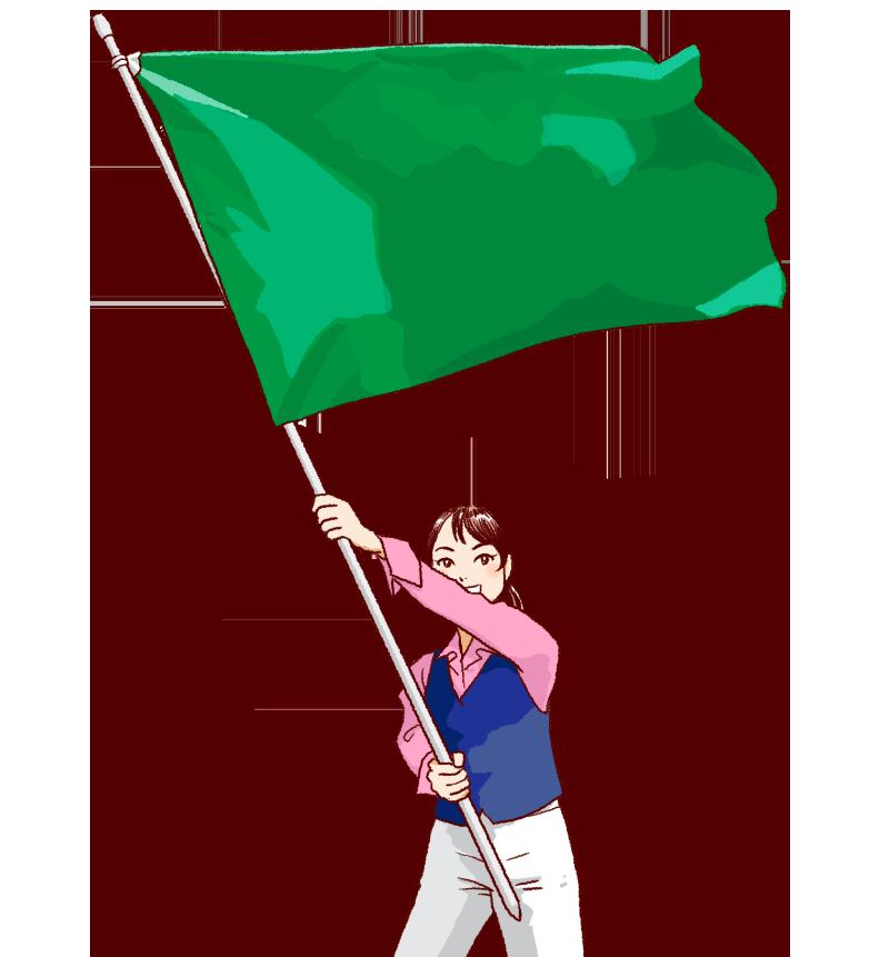 大きな緑の旗を振る女性のイラスト