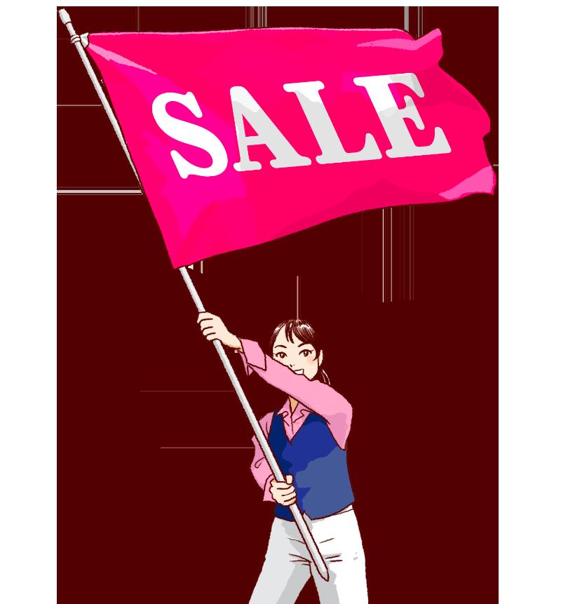 大きな旗を振る女性のイラスト セール中