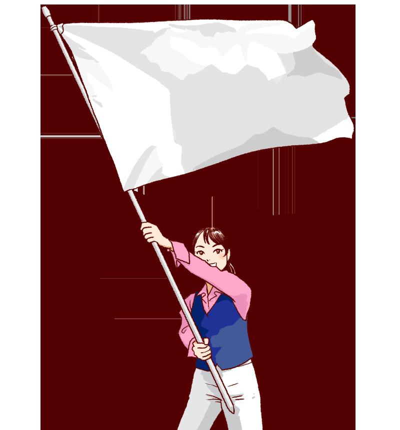 大きな白い旗を振る女性のイラスト