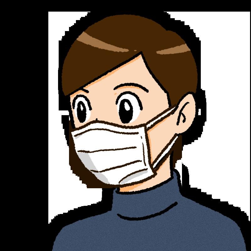 マスクをしている男性のイラスト(紙)