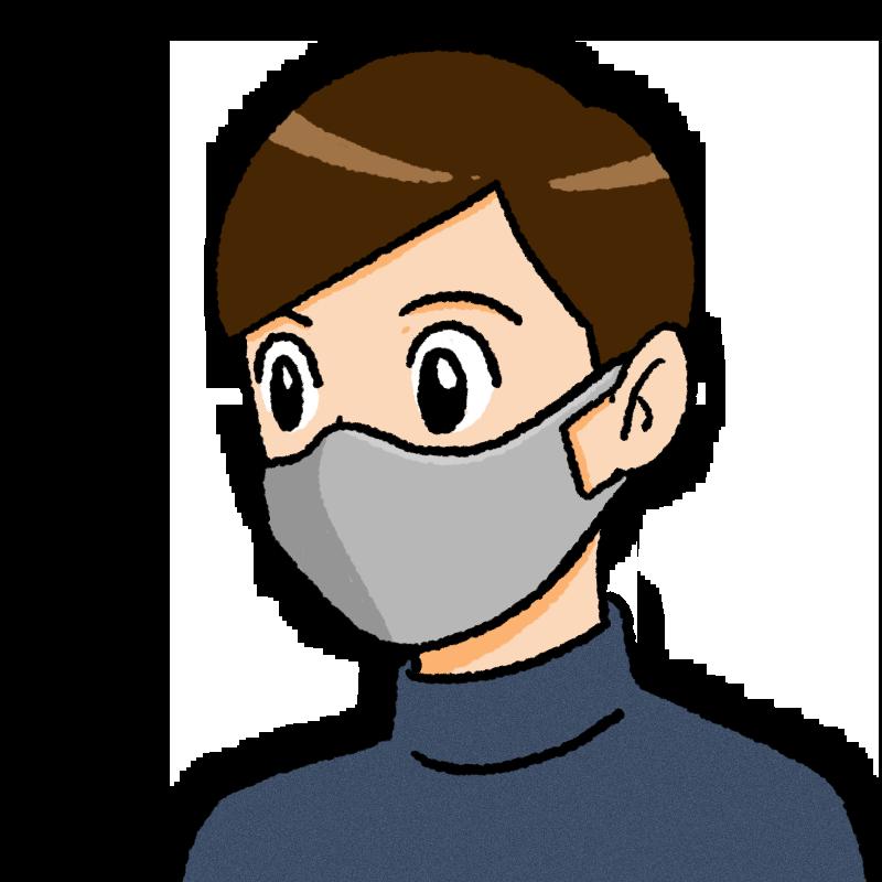 マスクをしている男性のイラスト(布)