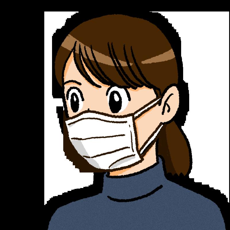 マスクをしている女性のイラスト(紙)