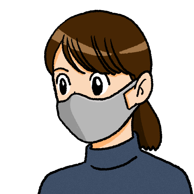 マスクをしている女性のイラスト(布)