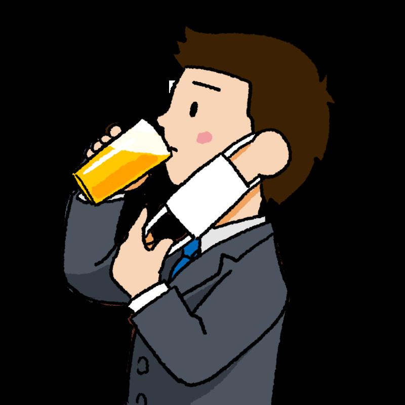 マスク会食 白いマスクを外してビールを飲む男性のイラスト