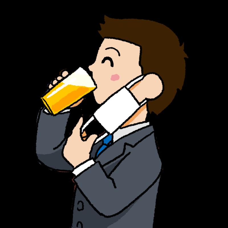 マスク会食 白いマスクを外して笑顔でビールを飲む男性のイラスト