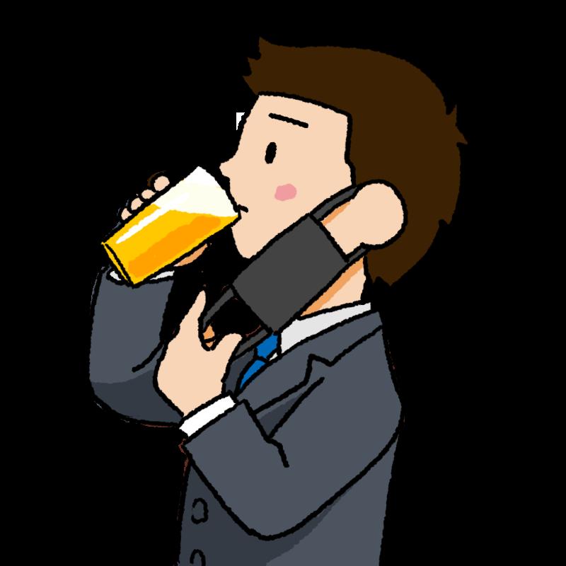 マスク会食 黒いマスクを外してビールを飲む男性のイラスト