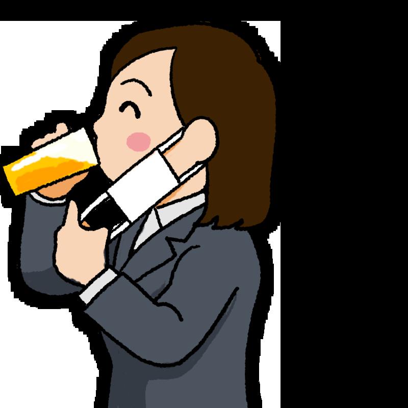 マスク会食 黒いマスクを外して笑顔でビールを飲む女性のイラスト