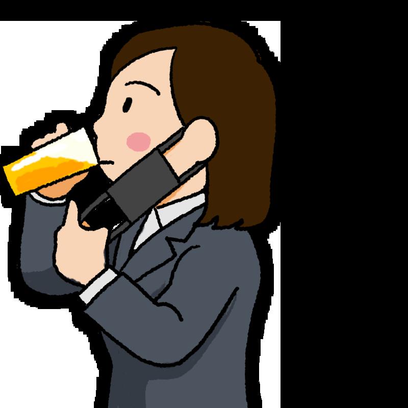 マスク会食 黒いマスクを外してビールを飲む女性のイラスト