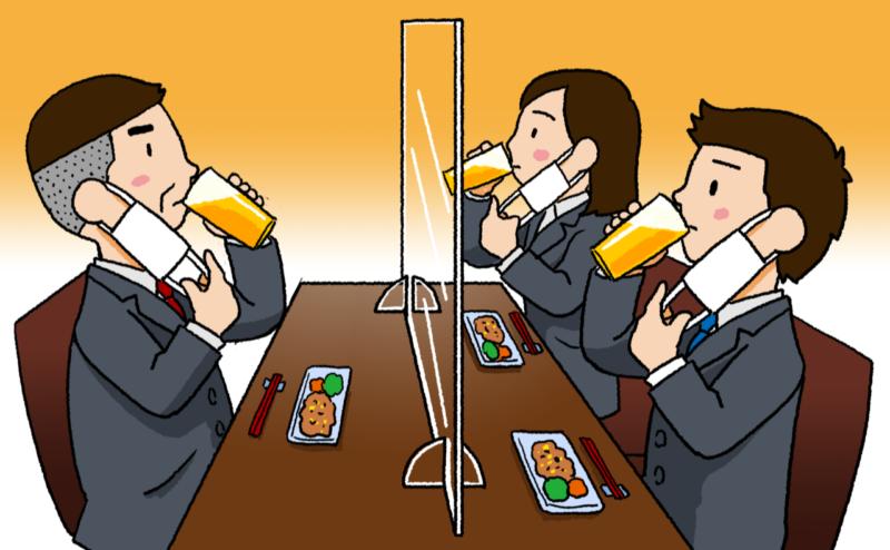 3人でマスク会食をしている人々のイラストアクリル板付き