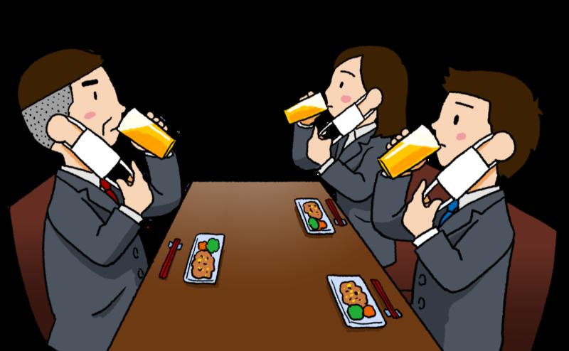 3人でマスク会食をしている人々のイラスト