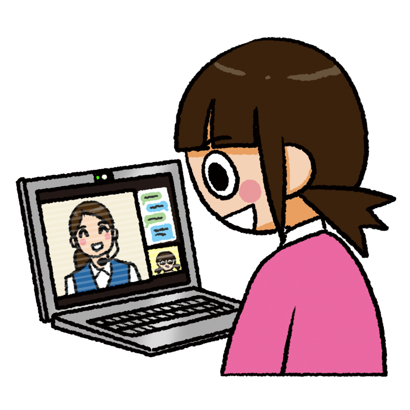 オンラインサポート 女性 イラスト
