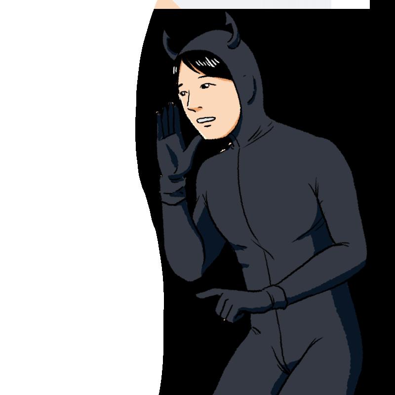 悪魔の仮装をした青年のイラスト