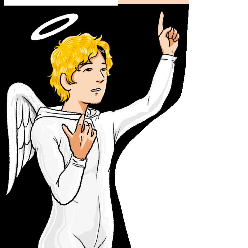 天使の仮装をした青年のイラスト