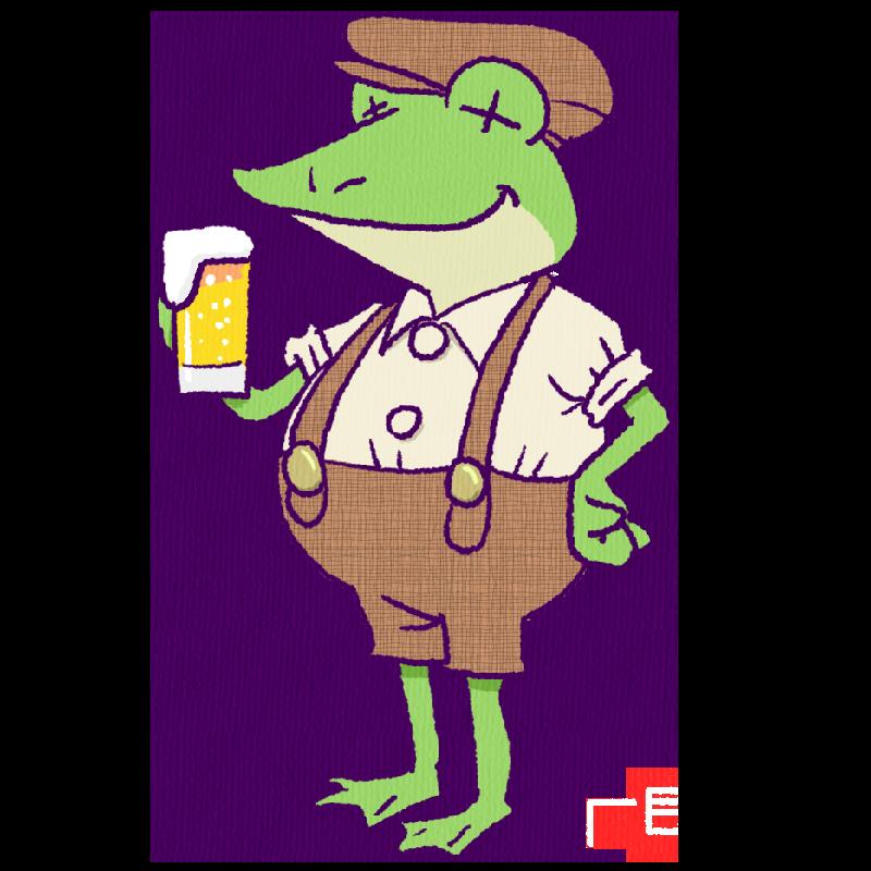 ビールを飲むカエルのイラスト