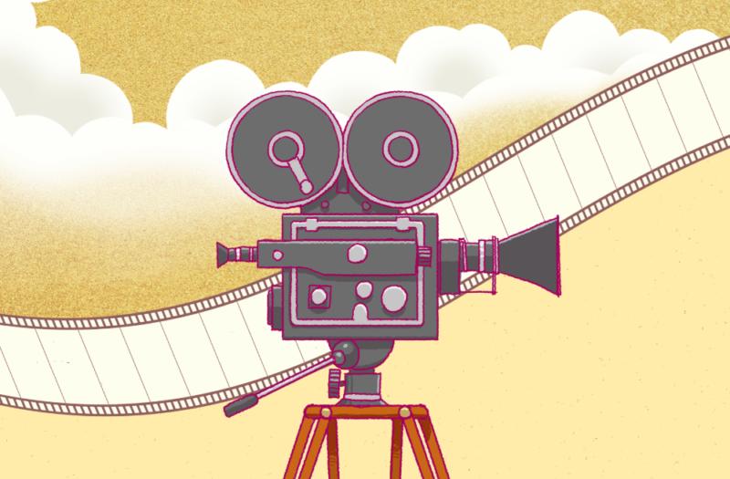 映画の古い撮影カメラのイラスト