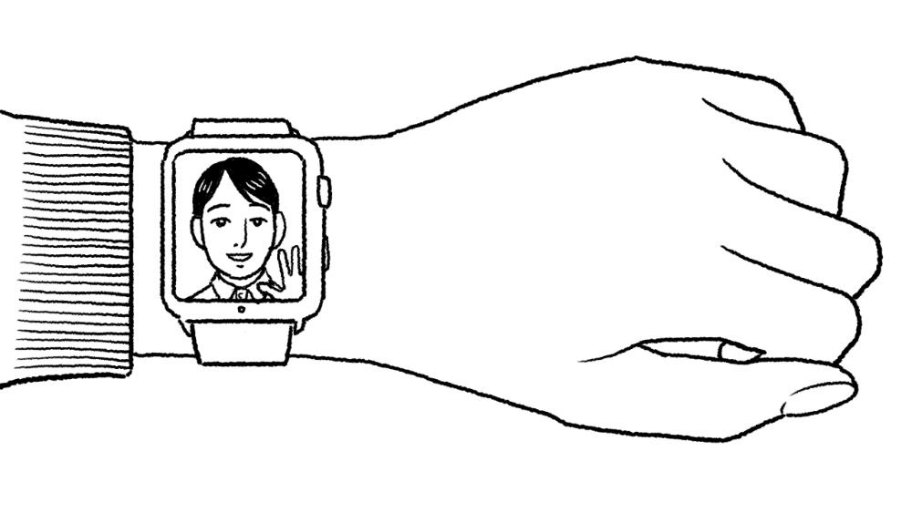 腕時計型端末でテレビ電話をするイラスト
