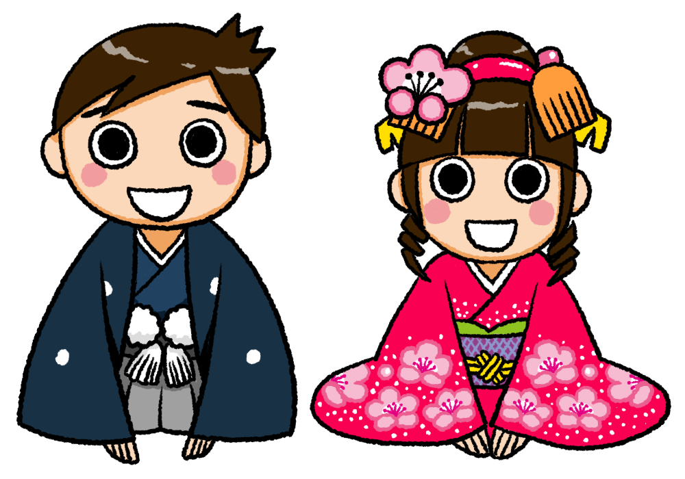 新年の挨拶をする着物の男の子と女の子のイラスト