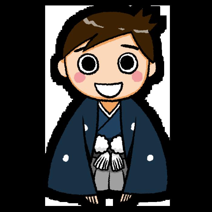 新年の挨拶をする着物の男の子のイラスト