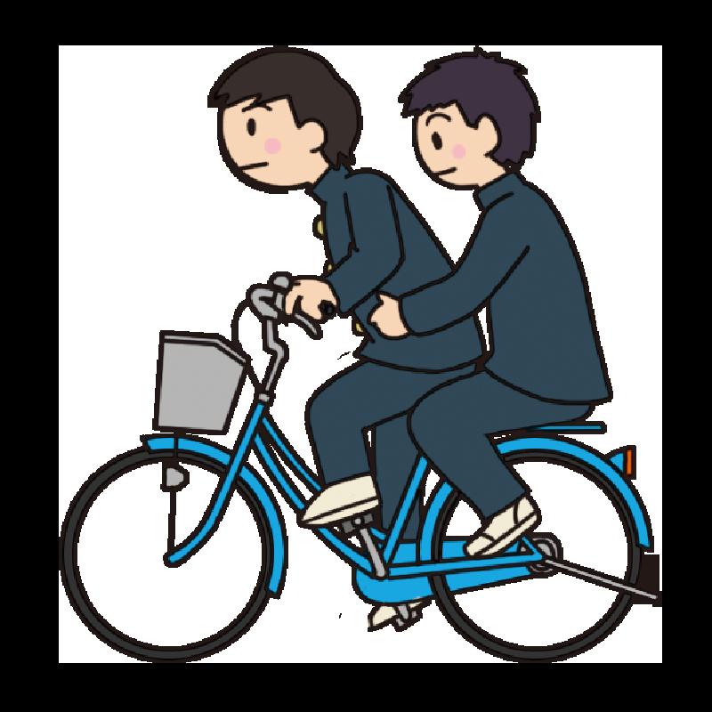 【危険運転】自転車の二人乗りをする男子生徒のイラスト