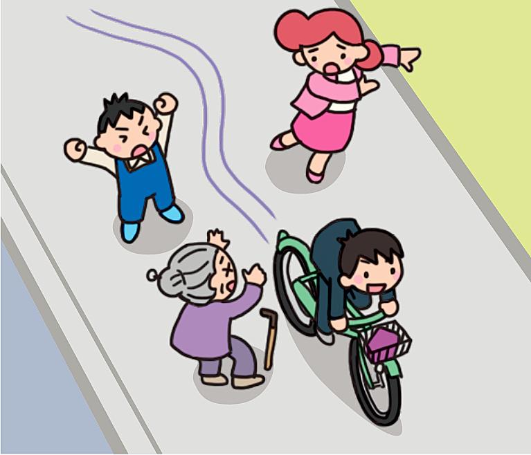 【危険運転】歩行者がいる歩道を自転車で爆走する男子生徒のイラスト