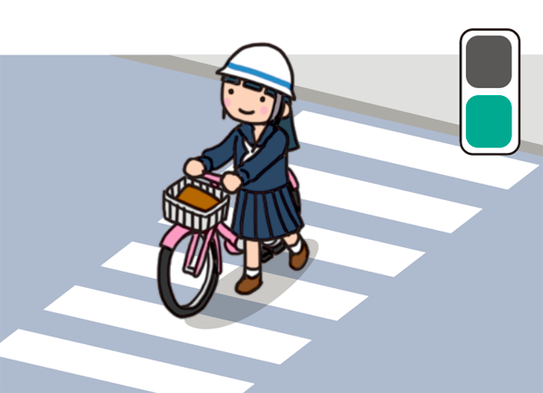 横断歩道を自転車を押して渡る女子生徒のイラスト