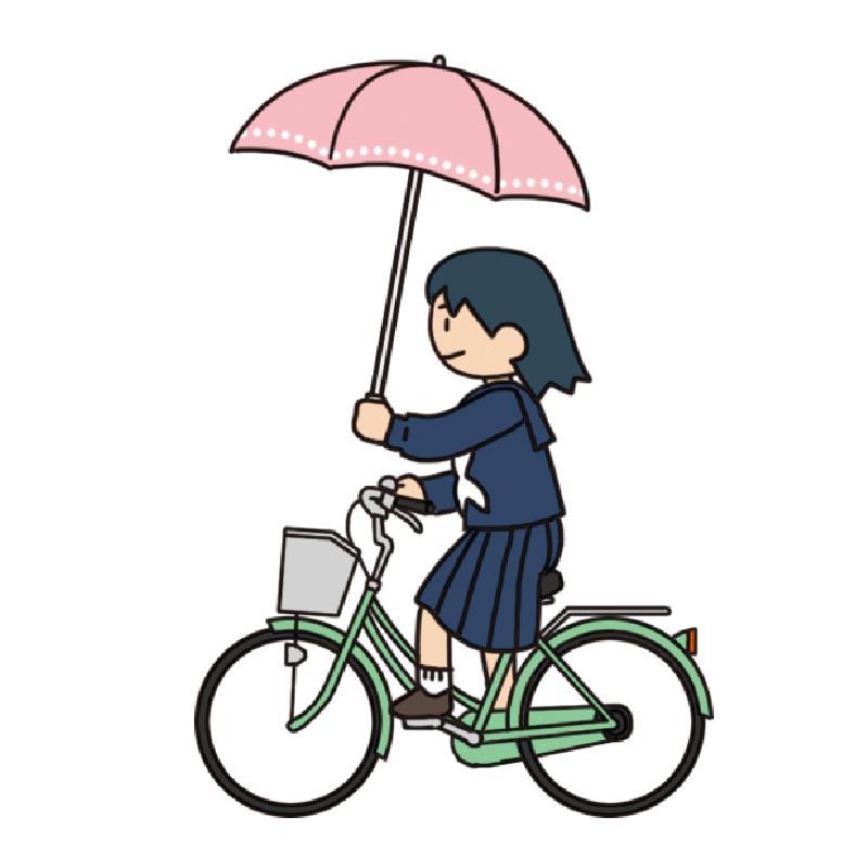 【危険運転】傘をさして自転車を運転する女子生徒のイラスト