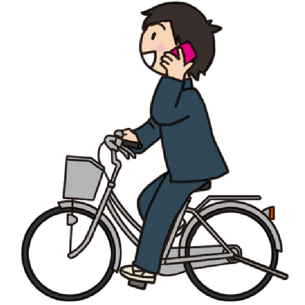 【危険運転】スマホで通話しながら自転車を運転する男子生徒のイラスト