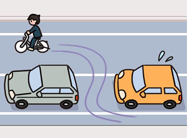 【危険運転】車の間を自転車ですり抜ける男子生徒のイラスト