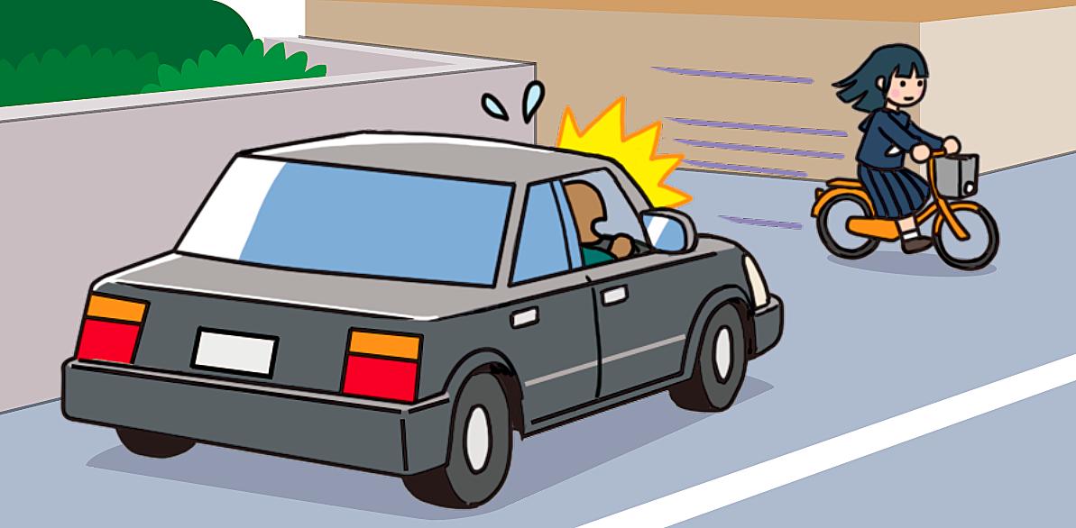 【危険運転】路地から自転車で飛び出す女子生徒のイラスト