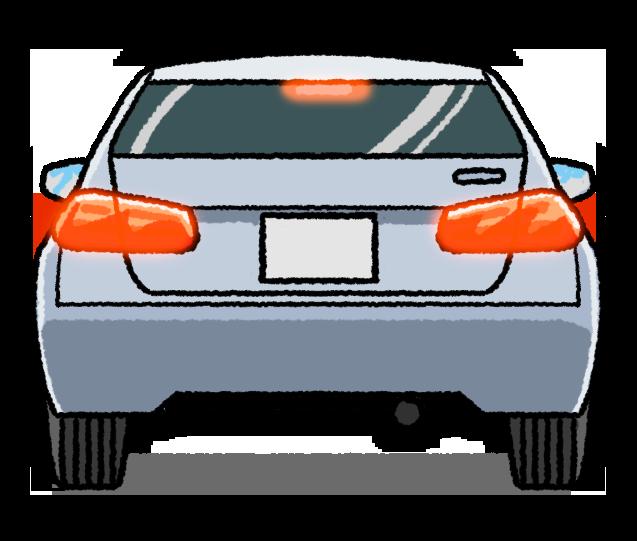 ブレーキランプを点灯した車のイラスト