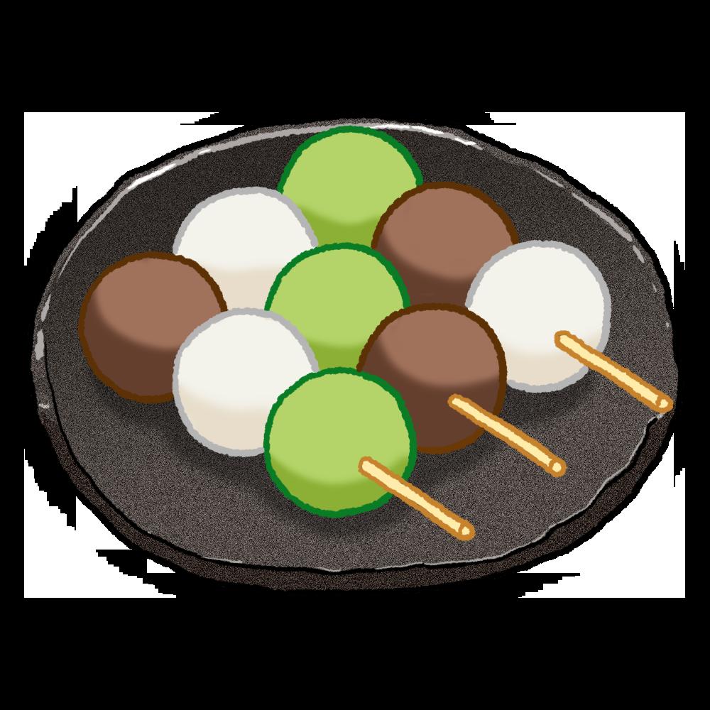 三色団子のイラスト(皿付き)