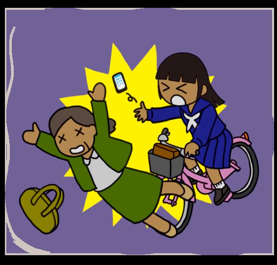 【危険運転】暗い中無灯火の自転車で歩行者にぶつかる女子生徒のイラスト