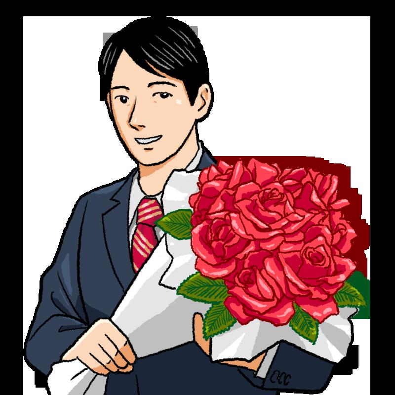 バラを持つスーツの男性のイラスト