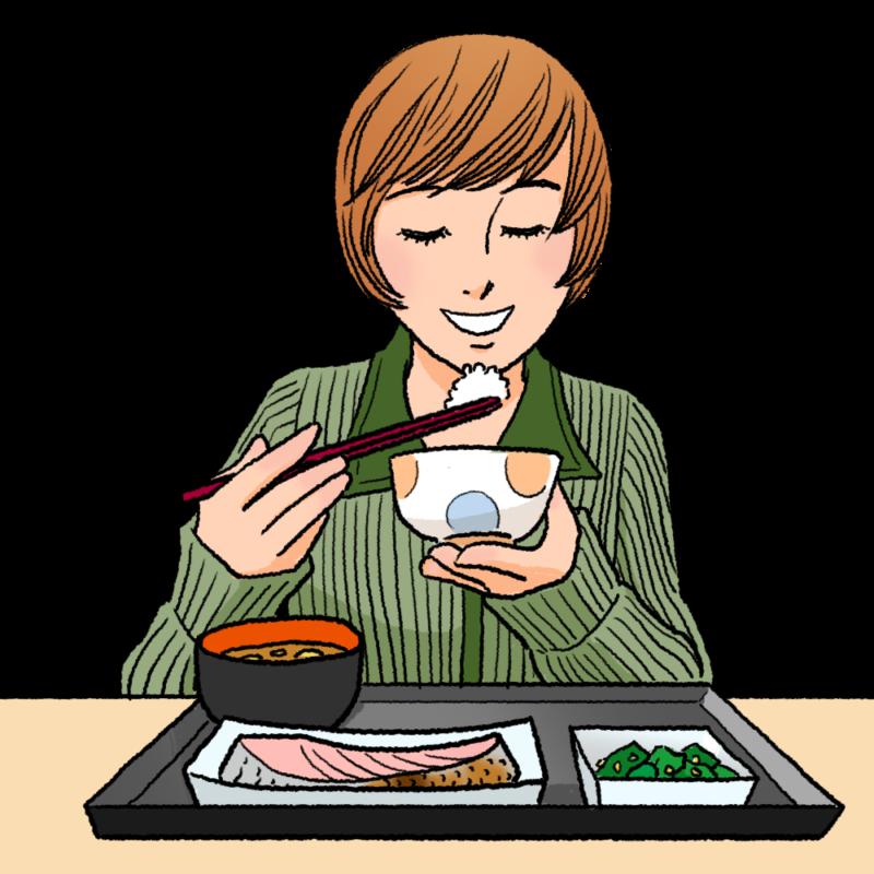 美味しそうに和食を食べる女性のイラスト