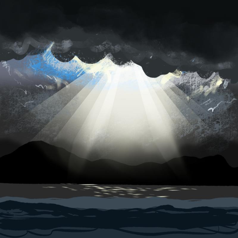 薄明光線の背景のイラスト