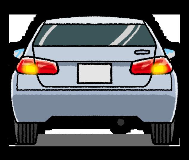 ハザードランプを点灯する車のイラスト
