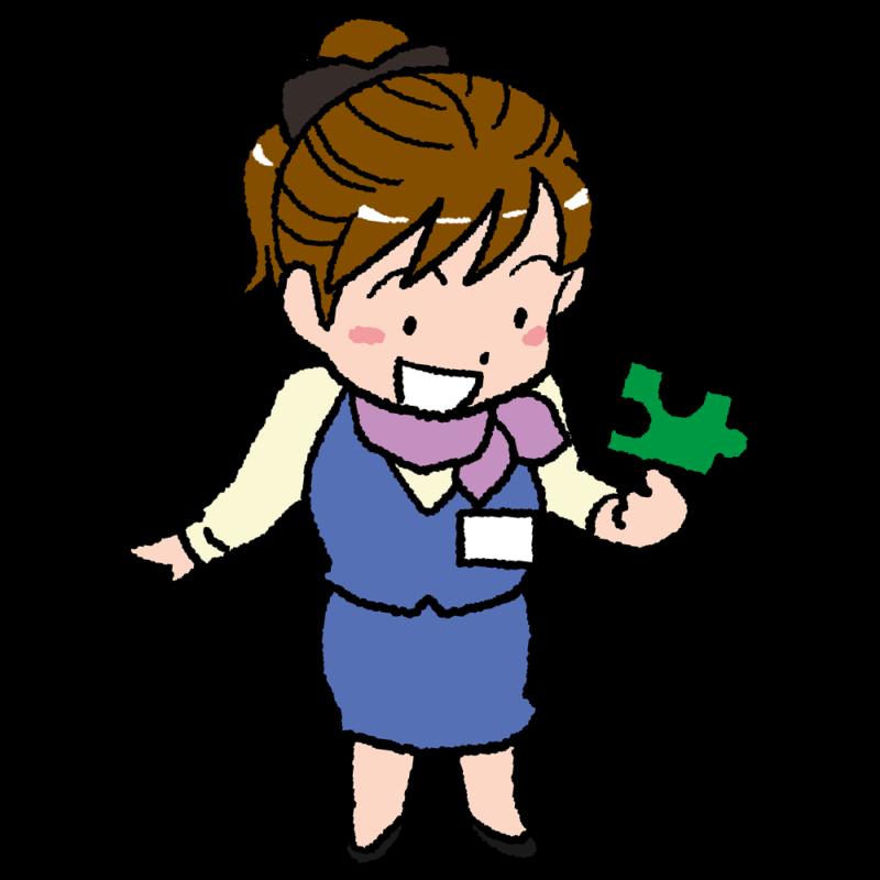 ジグソーパズルのピースを持った女性のイラスト