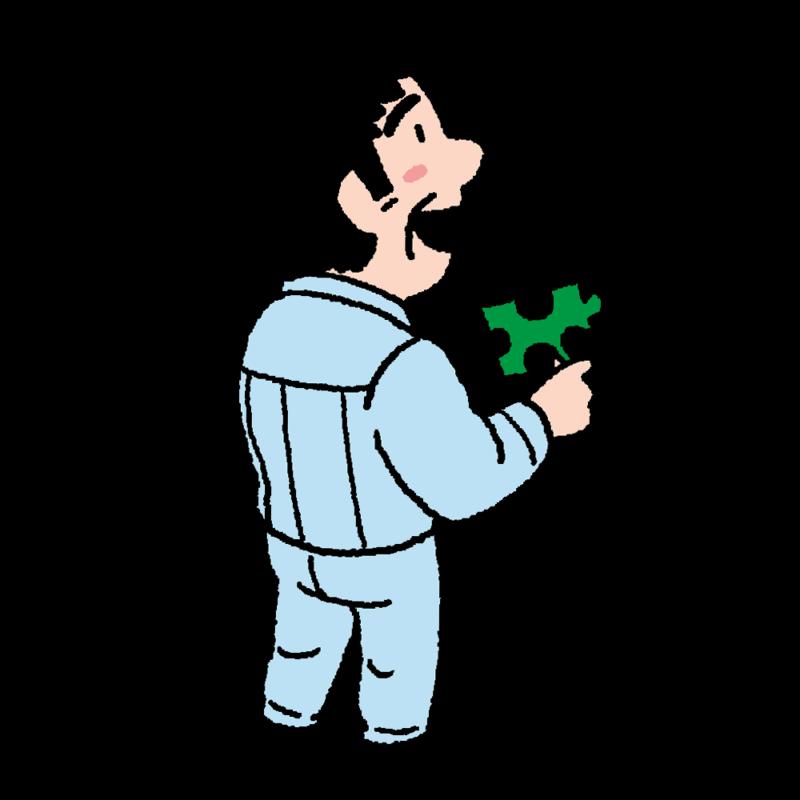 ジグソーパズルのピースを持った男性のイラスト