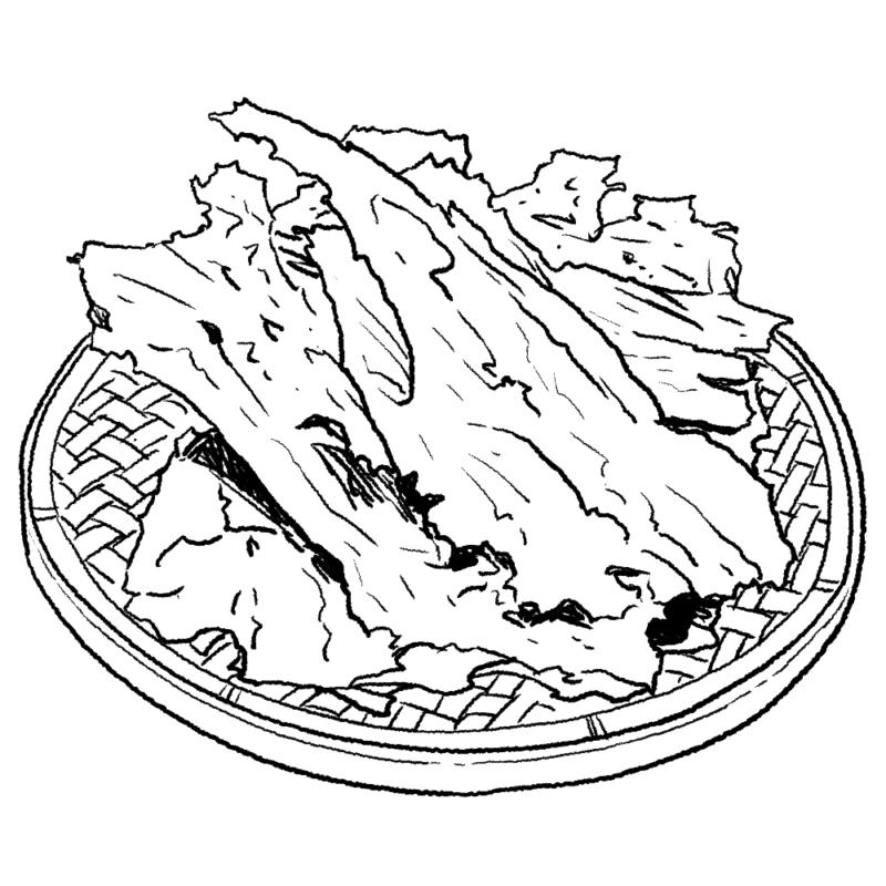 板ワカメのイラスト(ぬり絵)